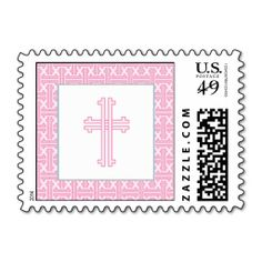 Christening Postage Stamp - Pink Cross. This great stamp design is available for customization or ready to buy as is. Of course, it can be sent through standard U.S. Mail. Just click the image to make your own!