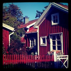 Nora, Sweden Wooden Cottage, Board And Batten, Red Barns, Small Homes, Space Saving, Cabins, Sweden, House Styles, Design