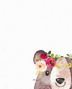 Boho Nursery, Nursery Prints, Nursery Art, Girl Nursery, Bambi, Wreath Watercolor, Bear Print, Baby Art, Watercolor Animals