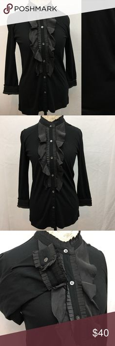 """Theory Top Theory Pima cotton/silk full button front top. Excellent NWOT no flaws condition. Size S. Armpit to armpit 18"""". Shoulder to bottom hem 27"""". Sleeve length 20"""". Theory Tops"""