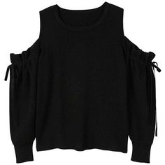 Cold-Shoulder Sweater (£30) ❤ liked on Polyvore featuring tops, sweaters, black, embellished sweater, cut off shoulder sweater, cold shoulder tops, off shoulder long sleeve top and cold shoulder sweater