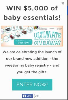 Great sweepstakes from a new website new moms or mom who already have their little ones should check it out :)) https://gleam.io/paOX7-5tND4e?l=http%3A%2F%2Fblog.weespring.com%2Fultimate-baby-registry-giveaway%2F