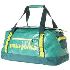 Patagonia Black Hole 45l Duffle Bag ($89) ❤ liked on Polyvore featuring bags, aqua stone, mesh zipper bag, patagonia, patagonia bag, black duffle bag and black duffel bag