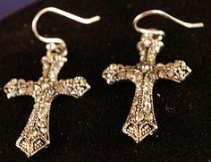 Marcasite Cross Earrings by MLRanchJewelry on Etsy