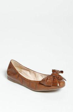 Brown Prada Stitched Bow Ballet Flat | Nordstrom
