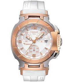 Tissot Watch, Women's Swiss Chronograph T-Race White Rubber Strap T0482172701700