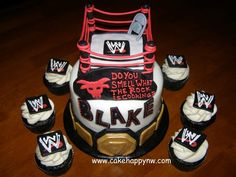 WWE themed birthday cake for a boy's 7th birthday!  All decorations are made with fondant and royal icing. www.cakehappynw.com