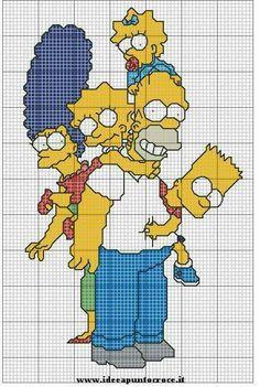 Bildergebnis für cross stitch patterns the simpsons Cross Stitching, Cross Stitch Embroidery, Cross Stitch Patterns, Cross Stitch Pillow, Cute Cross Stitch, Lego Mosaic, Granny Square Projects, Anime Pixel Art, Graph Paper Art