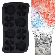 Silicone Mold Skull Shape Ice Cube Mold Candy Chocolate Cake Mold 8 Holes Ul