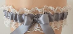 Silver and Ivory Lace Wedding Garter, Bridal Garter