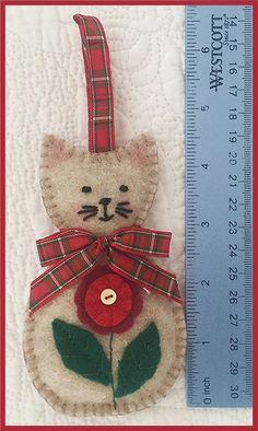 LYNN:  Hand Made Felt Cat Ornament by Lynn one-of-a-kind