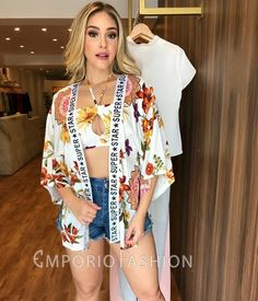 Shorts, Kimono Top, Fashion Looks, Jackets, Outfits, Casual, Women, Clothes, Hair And Nails