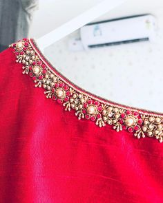No automatic alt text available. Wedding Saree Blouse Designs, Pattu Saree Blouse Designs, Blouse Designs Silk, Blouse Patterns, Simple Embroidery Designs, Kurti Embroidery Design, Hand Work Embroidery, Bead Embroidery Patterns, Embroidery Fabric