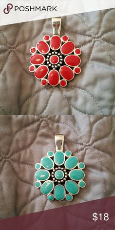 Flipside magnetic enhancer Premier Designs magnetic enhancer. Reversible with red on one side and turquoise on the other. Can be added to any necklace. Premier Designs Jewelry Necklaces