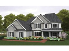 Colonial House Plan with 3599 Square Feet and 4 Bedrooms from Dream Home Source | House Plan Code DHSW075968