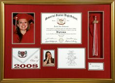 graduation+shadow+box | Memorial High School graduation memorabilia shadow box.