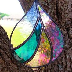 Fat Raindrop Stained Glass Suncatcher, organic modern blue texture from FoiledEfforts on Etsy. Saved to Stained Glass, etc. Stained Glass Light, Stained Glass Ornaments, Stained Glass Christmas, Stained Glass Suncatchers, Stained Glass Designs, Stained Glass Panels, Stained Glass Projects, Stained Glass Patterns, Leaded Glass