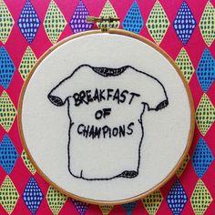 Breakfast of Champions T-shirt illustration by Kurt Vonnegut, hand embroidered by littlesasquatch on Etsy