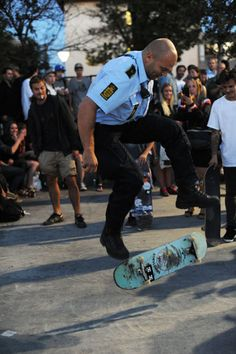 A huge circle formed around this Danish cop like a dance party. Skateboarding cops gets everyone hyped.