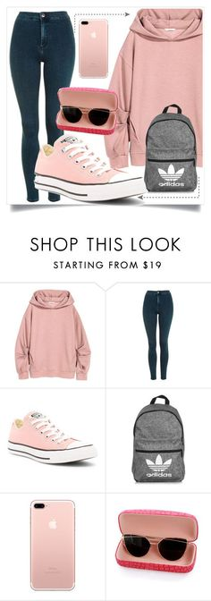 How to wear: High School by mademoiselle-mm ❤ liked on Polyvore featuring Topshop, Converse and adidas