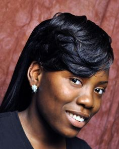 Weave Hairstyles with Bangs | Description: This beautiful style is a feathered bang with a beautiful ...