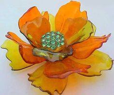 Large Vintage Lucite Celluloid Flower Pin Brooch & Earrings w/ Green Rhinestones