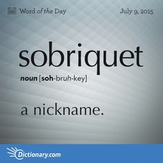 Dictionary.com's Word of the Day - sobriquet - a nickname.