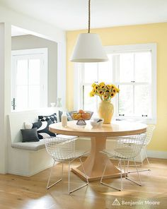 Yellow is a notoriously difficult color to get right, but when it works, it is a mood booster like no other. Hawthorne Yellow by Benjamin Moore is like a big dose of Vitamin D, and is just right for a sunny breakfast nook.