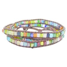 Handcrafted Brown Leather and Square Glass Stone Mosaic Wrap Bracelet (India) | Overstock.com Shopping - The Best Deals on Bracelets