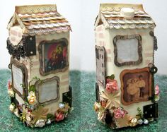 Upcycled milk carton created for Spellbinders blog