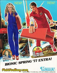 Lindsay Wagner As Jaime Sommers In The Bionic Woman And Lee Majors As Steve Austin In The Six Million Dollar Man Action Figures By Kenner Ad Spring 1977