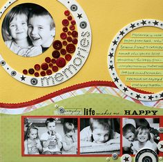 #papercraft #scrapbook #layout.  Love circle pic with buttons