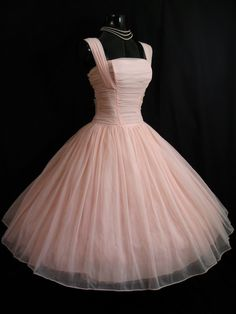 Vintage 1950's Bombshell PINK  Ruched Chiffon Organza Party Dress