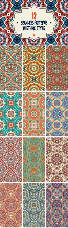 12 Seamless patterns in ethnic style. Patterns