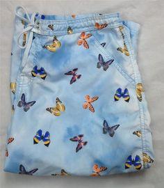 Body Glove Women's Capris Crop Pants Butterfly Blue Clouds Large Draw String   eBay