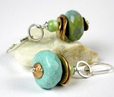 Turquoise Earrings, Beaded with Himalayan Turquoise, Handmade Bronze PMC, Peruvian Opal, and Sterling Silver Leverbacks-   Estes.  Etsy.