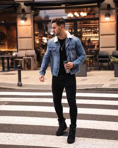 "Nemanja Grujic on Instagram: ""Always on the move 😎 Shoes are @palladium_boots from @officeshoes_srbija 🍂"" Jean Jacket Outfits, Denim Jacket Men, Denim Jackets, Denim Men, Winter Outfits Men, Spring Fashion Outfits, Fashion Pants, Fashion Clothes, Mens Style Guide"