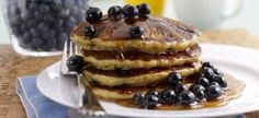 From the Healthy Pancakes Breakfast Recipe Collection. A berry delicious pancake recipe courtesy of Driscoll's Berries. Picture perfect, healthier than usual pancakes. Whole Wheat Pancakes, Buckwheat Pancakes, Gluten Free Blueberry, Blueberry Recipes, Blueberry Sauce, Vegan Blueberry, Tasty Pancakes, Blueberry Pancakes, Honey Pancakes
