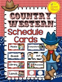 Schedule Cards~Country Western Classroom Decor Set  Keep track of your Classroom Schedule with this adorable Country Western style Schedule Card set.   This set is part of the Country Western Decor Bundle by Tweet Music