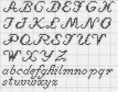 Resultado de imagem para cross stitch letter pattern cursive