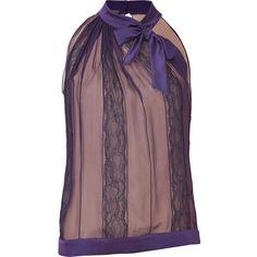 ALBERTA FERRETTI Purple And Nude Tie-Neck Halter Top via Polyvore