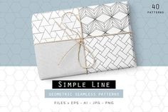 Simple Line Geometric Patterns by Youandigraphics on @creativemarket