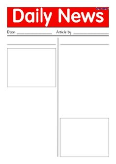 Newspaper TemplateDoc  Ela    Newspaper Literacy And