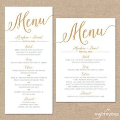 154 Best Menu Cards Images Wedding Ideas Bridal Parties Invitations