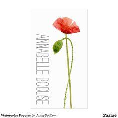 Watercolor Poppies Business Card @zazzle #junkydotcom Sept 2016