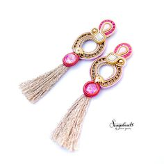 Extra long hot pink and gold handmade stud earrings. by Sengabeads