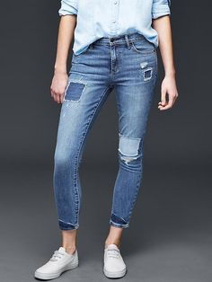 AUTHENTIC 1969 patchwork true skinny ankle jeans Product Image