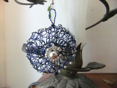Silver and Blue Wire Crochet Earrings by Krasata on Etsy, $15.00
