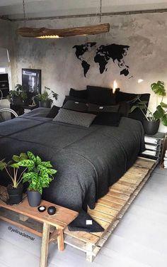 Master Bedroom Decorating Ideas Modern Bedroom Sets Home Modern Bedroom Design, Home Room Design, Home Interior Design, Contemporary Bedroom, Bedroom Designs, Modern Contemporary, Industrial Bedroom Design, Ikea Interior, Industrial Storage