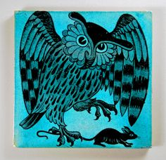 Owl and mouse - De Morgan tile by robmcrorie, via Flickr